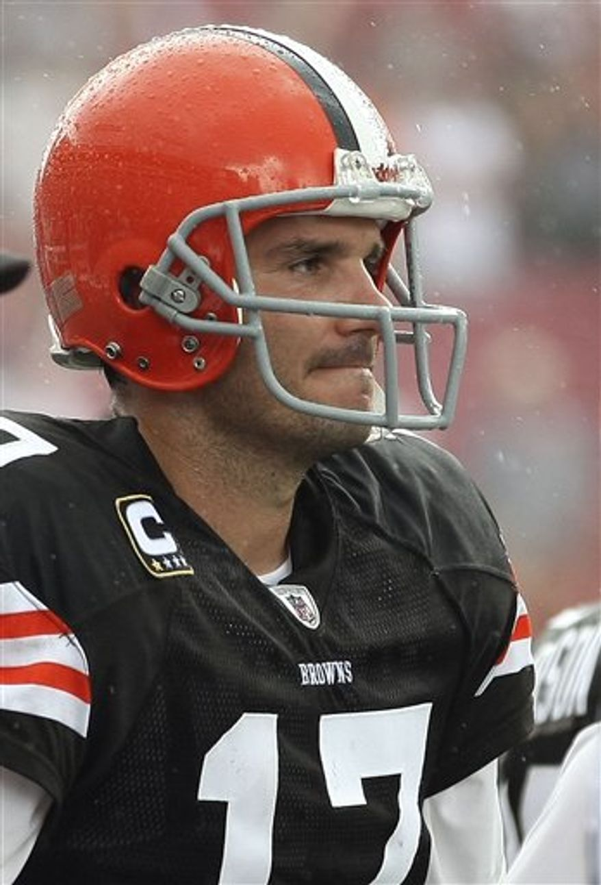 Cleveland Browns quarterback Jake Delhomme fires a first half pass against the Tampa Bay Buccaneers during an NFL football game Sunday, Sept. 12, 2010, in Tampa, Fla. (AP Photo/Brian Blanco)