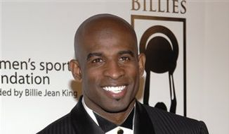 """Deion Sanders poses at """"The Billies,"""" a Women's Sports Foundation Awards event held at the Beverly Hilton Hotel,  in Beverly Hills, Calif., April 11, 2007. (Associated Press) ** FILE **"""