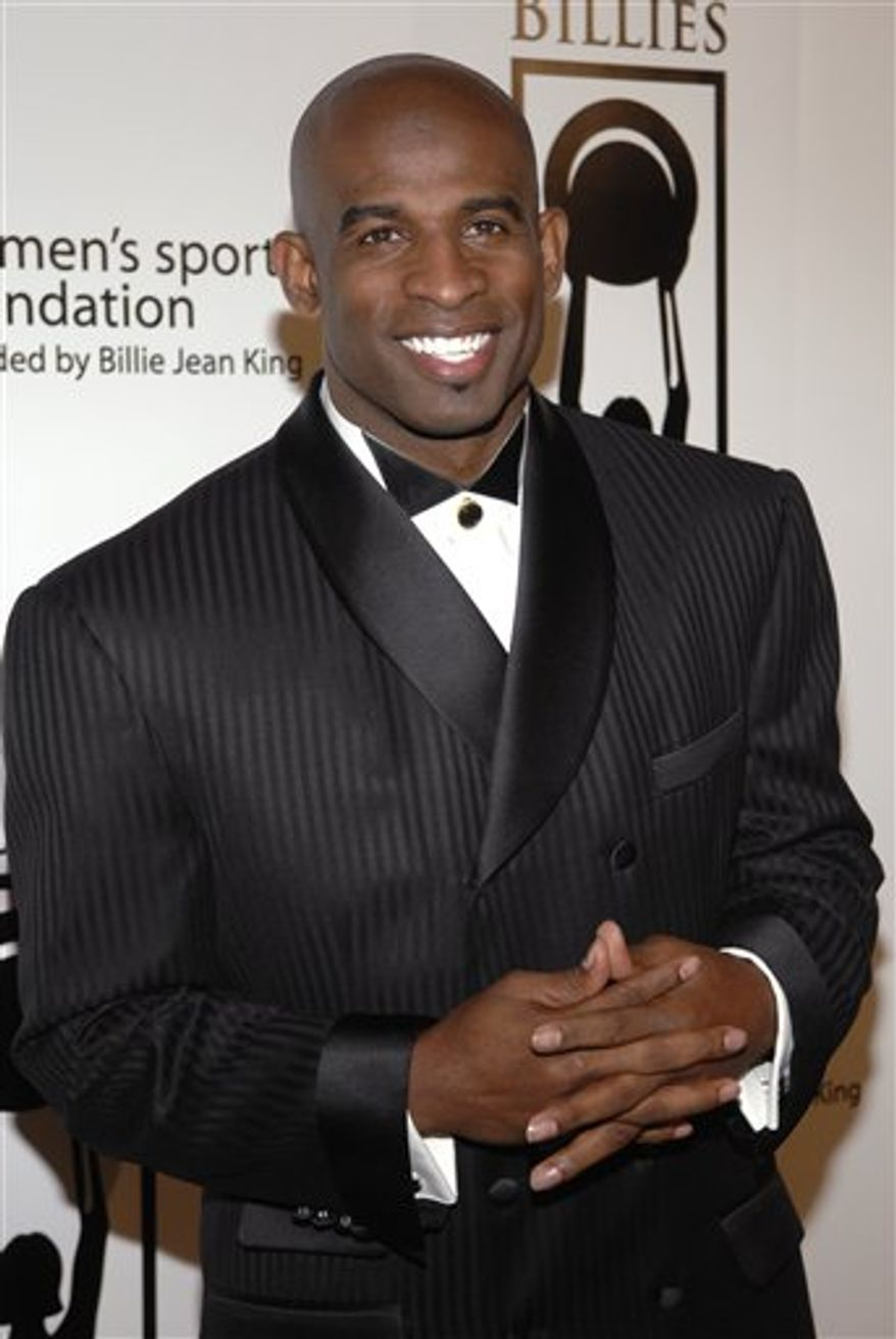 "Deion Sanders poses at ""The Billies,"" a Women's Sports Foundation Awards event held at the Beverly Hilton Hotel,  in Beverly Hills, Calif., April 11, 2007. (Associated Press) ** FILE **"