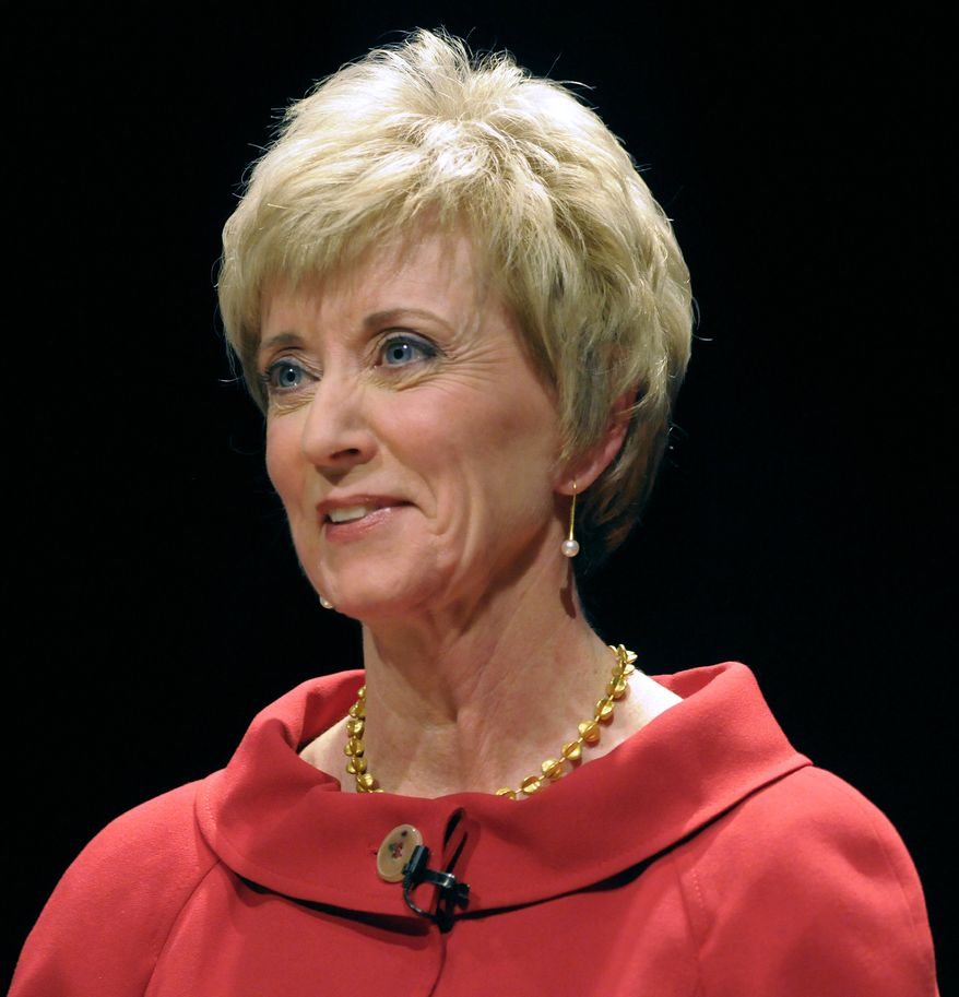 In this March 2, 2010 file pool photo, former World Wrestling Entertainment CEO Linda McMahon during at the Lincoln Theater on the University of Hartford campus in West Hartford, Conn. A bomb threat, Sunday, Sept. 12, 2010, forced the evacuation of a political fundraiser in Connecticut attended by Ms. McMahon, a Republican U.S. Senate candidate. She faces Democrat Richard Blumenthal in the November election. (AP Photo/John Woike, Pool, File)