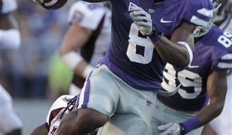 Kansas State running back Daniel Thomas (8) breaks from the pack as he runs 45 yards for a touchdown during the first quarter of an NCAA college football game against Missouri State Saturday, Sept. 11, 2010 in Manhattan, Kan. (AP Photo/Charlie Riedel)