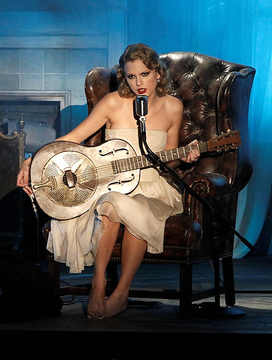Taylor Swift performs at the MTV Video Music Awards on Sunday, Sept. 12, 2010 in Los Angeles. (AP Photo/Matt Sayles)