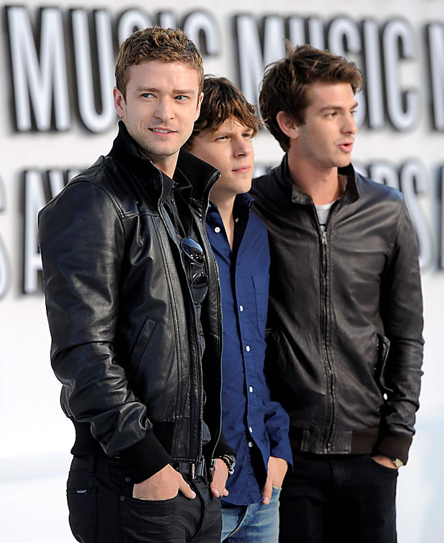 Justin Timberlake, Jesse Eisenberg, and Andrew Garfield arrives at the MTV Video Music Awards on Sunday, Sept. 12, 2010 in Los Angeles. (AP Photo/Chris Pizzello)
