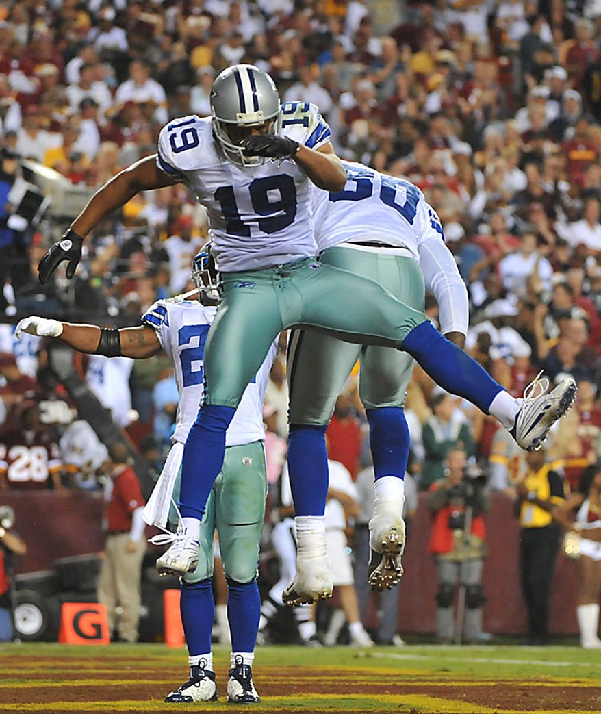 Dallas Cowboys' wide receiver Miles Austin celebrates after bringing in a 4-yard touchdown reception against the Washington Redskins at FedEx Field in Landover, Maryland on September 12, 2010. The Redskins defeated the Cowboys 13-7.   UPI/Kevin Dietsch