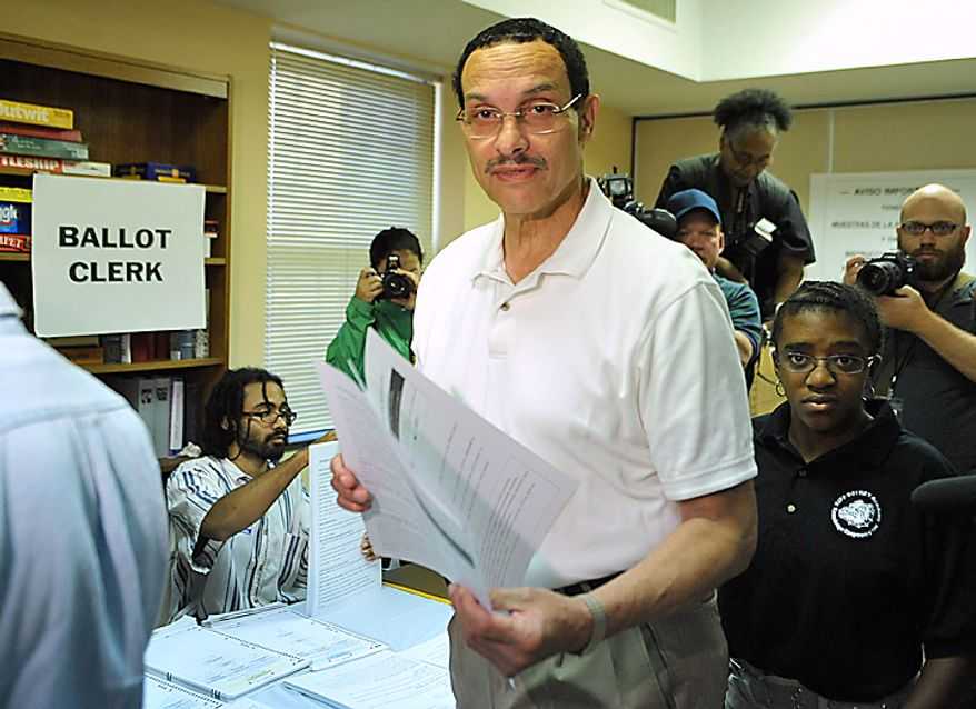 D.C. Mayoral candidate Vincent Gray prepares to cast his vote during the D.C. Mayoral Primary Election at Washington Senior Wellness Center in Washington on September 14, 2010. Gray is in a heated Mayoral race with incumbent Adrian Fenty.  UPI/Kevin Dietsch