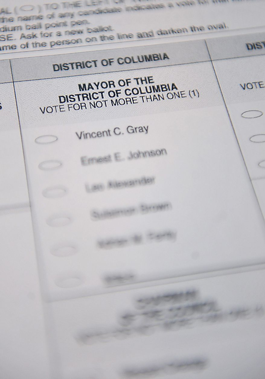 A D.C. Mayoral Primary Election ballot is seen on election day at the Takoma School in Washington on September 14, 2010. UPI/Kevin Dietsch
