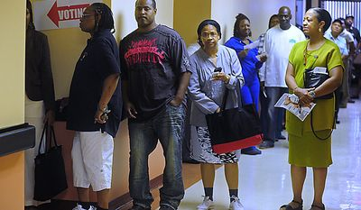 Voters wait to cast their ballots during the D.C. Mayoral Primary Election at Washington Senior Wellness Center in Washington on September 14, 2010. UPI/Kevin Dietsch
