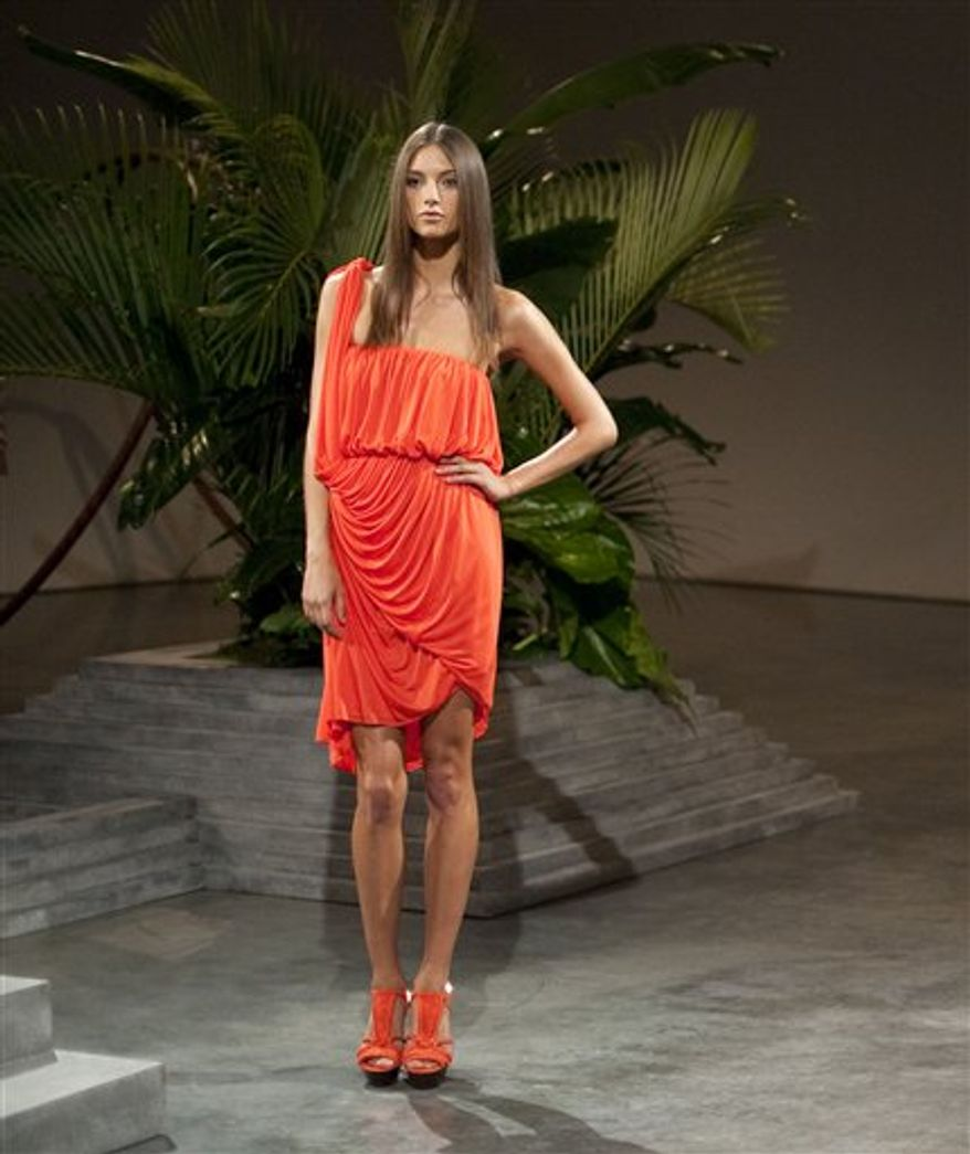 The Halston spring 2011 collection is modeled Monday, Sept. 13, 2010 during Fashion Week in New York. (AP Photo/Stephen Chernin)