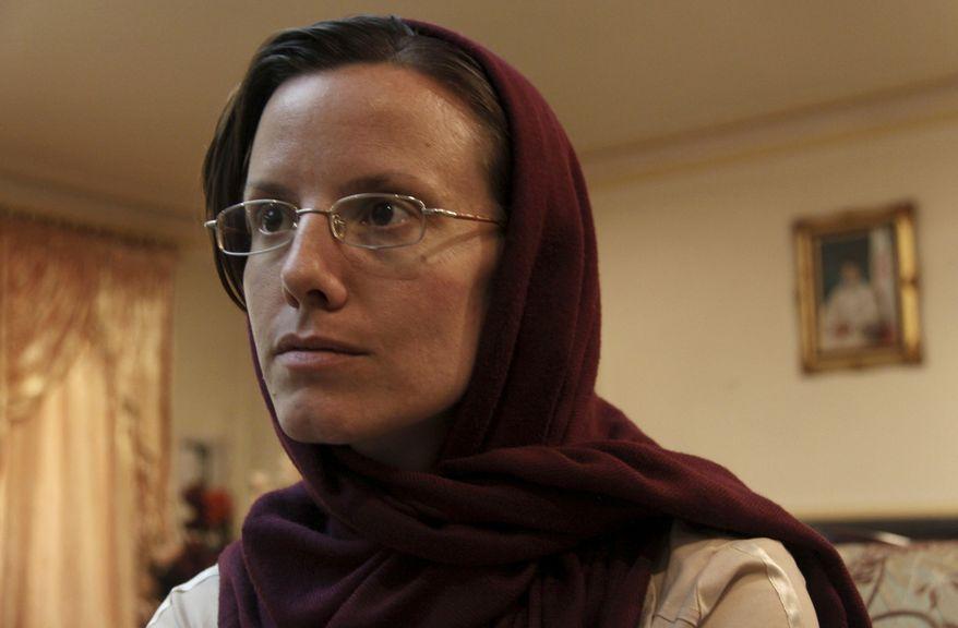 American hiker Sarah Shourd, 32, waits at Mehrabad airport, prior to leaving Tehran, Iran, Tuesday, Sept. 14, 2010. (AP Photo/Press TV)