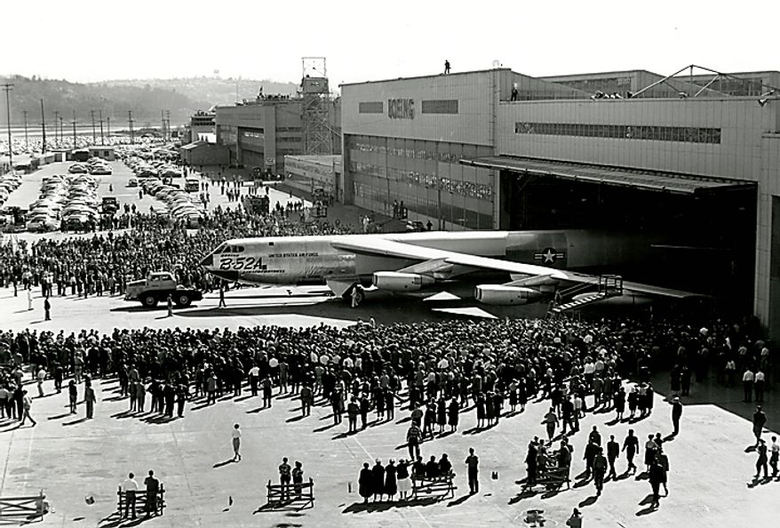 """In this March 19, 1954, photo from the Boeing Co. archive, a Boeing B-52 Stratofortress airplane is rolled out of Boeing's historic """"Plant 2"""" in Seattle. After giving birth to some of the world's most significant aircraft, the outdated facility is scheduled to be torn down in the fall of 2010. (AP Photo/Courtesy Boeing Co.)"""