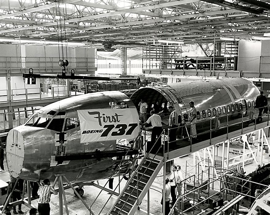 "In this July 12, 1966 photo from the Boeing Co. archive, the first Boeing 737 airplane is shown being built at Boeing's historic ""Plant 2"" in Seattle. After giving birth to some of the world's most significant aircraft, the outdated facility is scheduled to be torn down in the fall of 2010. (AP Photo/Courtesy Boeing Co.)"