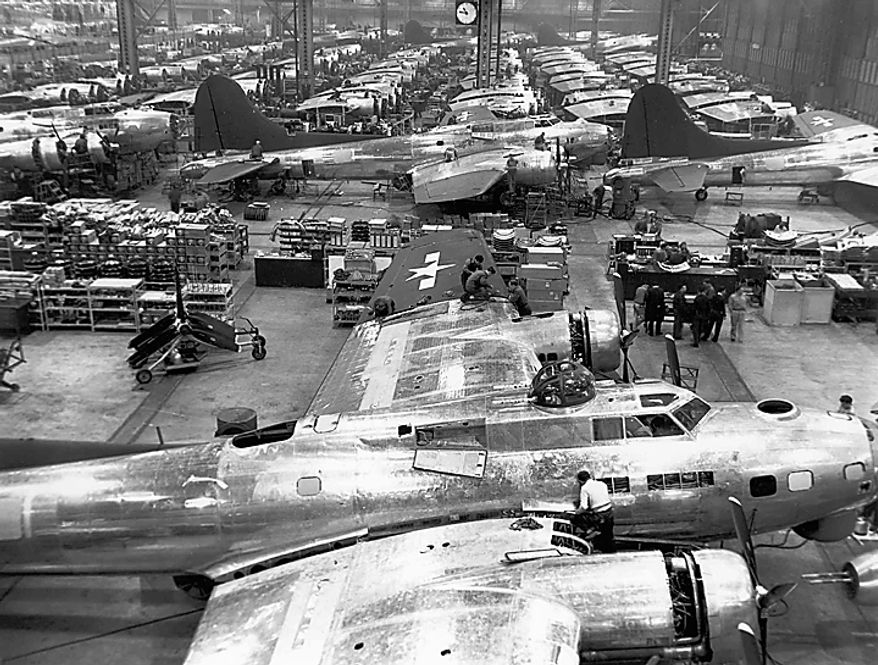 "In this Dec. 20, 1943 photo from the Boeing Co. archive, B-17G Flying Fortress airplanes are shown being built at Boeing's historic ""Plant 2"" in Seattle. After giving birth to some of the world's most significant aircraft, the outdated facility is scheduled to be torn down in the fall of 2010. (AP Photo/Courtesy Boeing Co.)"