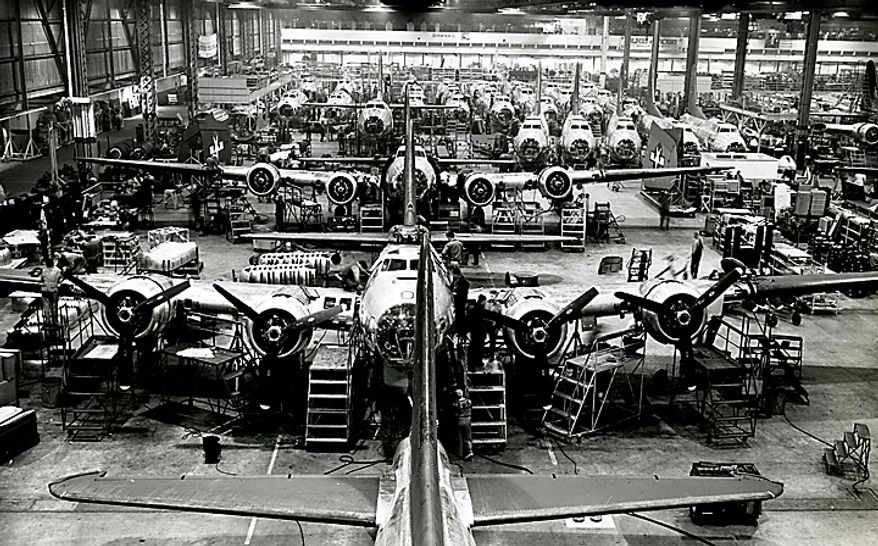 """In this Dec. 20, 1943 photo from the Boeing Co. archive, B-17G Flying Fortress airplanes are shown being built at Boeing's historic """"Plant 2"""" in Seattle. After giving birth to some of the world's most significant aircraft, the outdated facility is scheduled to be torn down in the fall of 2010. (AP Photo/Courtesy Boeing Co.)"""