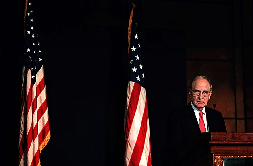 President Barack Obama's Mideast peace envoy George Mitchell talks during a press conference at the end of the peace talks session at the Red Sea resort of Sharm el-Sheikh, Egypt Tuesday Sept. 14, 2010. Mitchell says a new round of Israeli-Palestinian negotiations is moving in the right direction, but he offered no evidence of progress on the hard issue of Jewish settlements.  (AP Photo/Nasser Nasser)