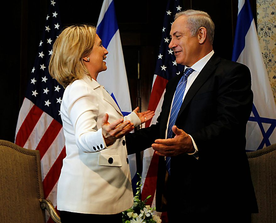 "US Secretary of State Hillary Rodham Clinton and Israeli Prime Minister Benjamin Netanyahu meet in Sharm El-Sheikh, Egypt Tuesday, Sept. 14, 2010. Clinton said the ""time is ripe"" for Mideast peace, but that without face-to-face talks Israel can't expect lasting security and the Palestinians can't create an independent state. (AP Photo/Alex Brandon, Pool)"