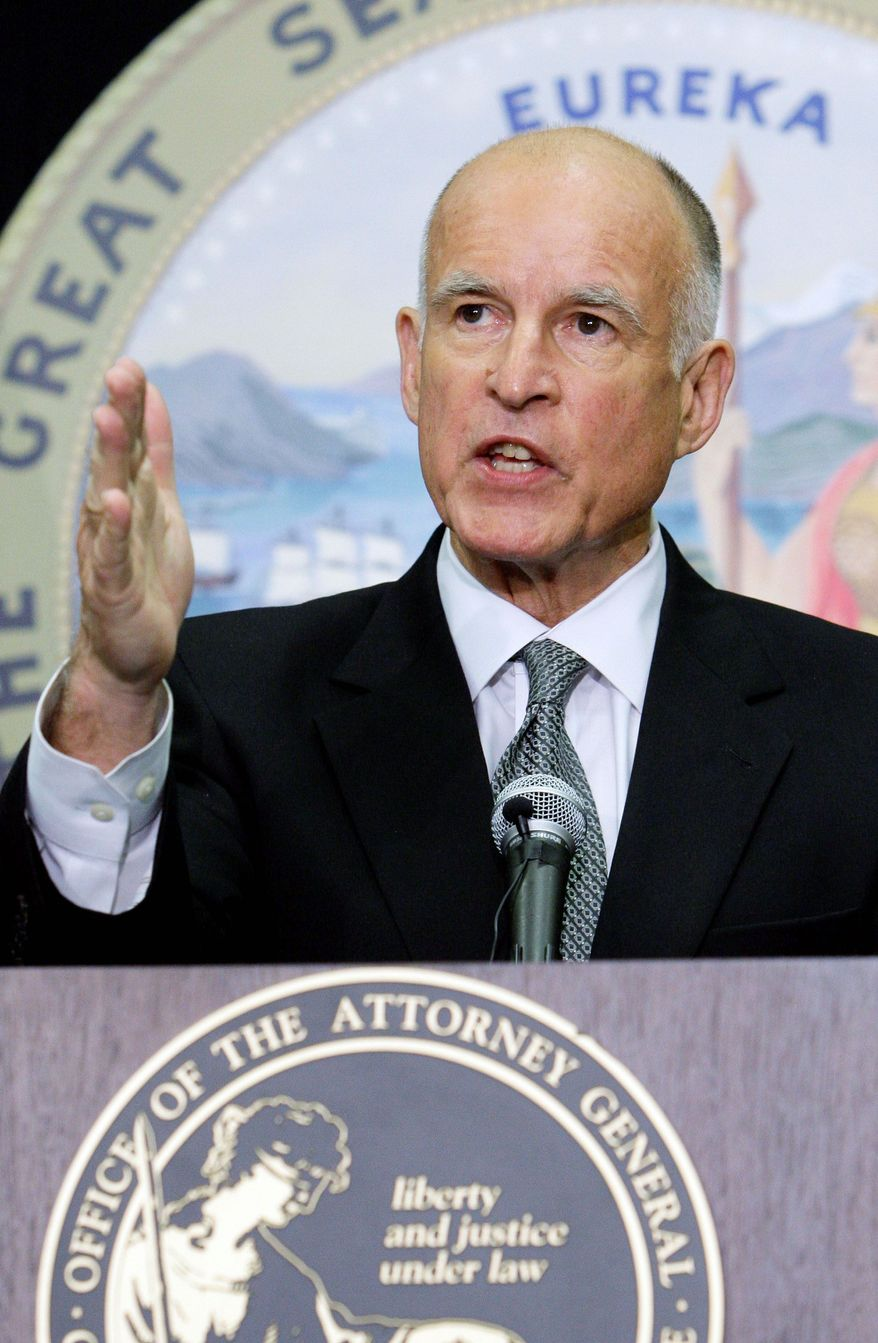 ASSOCIATED PRESS California Attorney General Jerry Brown announces lawsuits being filed against officials of the city of Bell, Calif., in Los Angeles on Wednesday.
