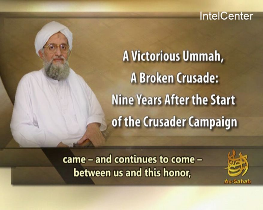 This image provided by IntelCenter shows a television frame grab of al Qaeda's No. 2 leader Ayman al-Zawahri in a video posted Wednesday Sept. 15, 2010 on militant websites. (AP Photo/IntelCenter)