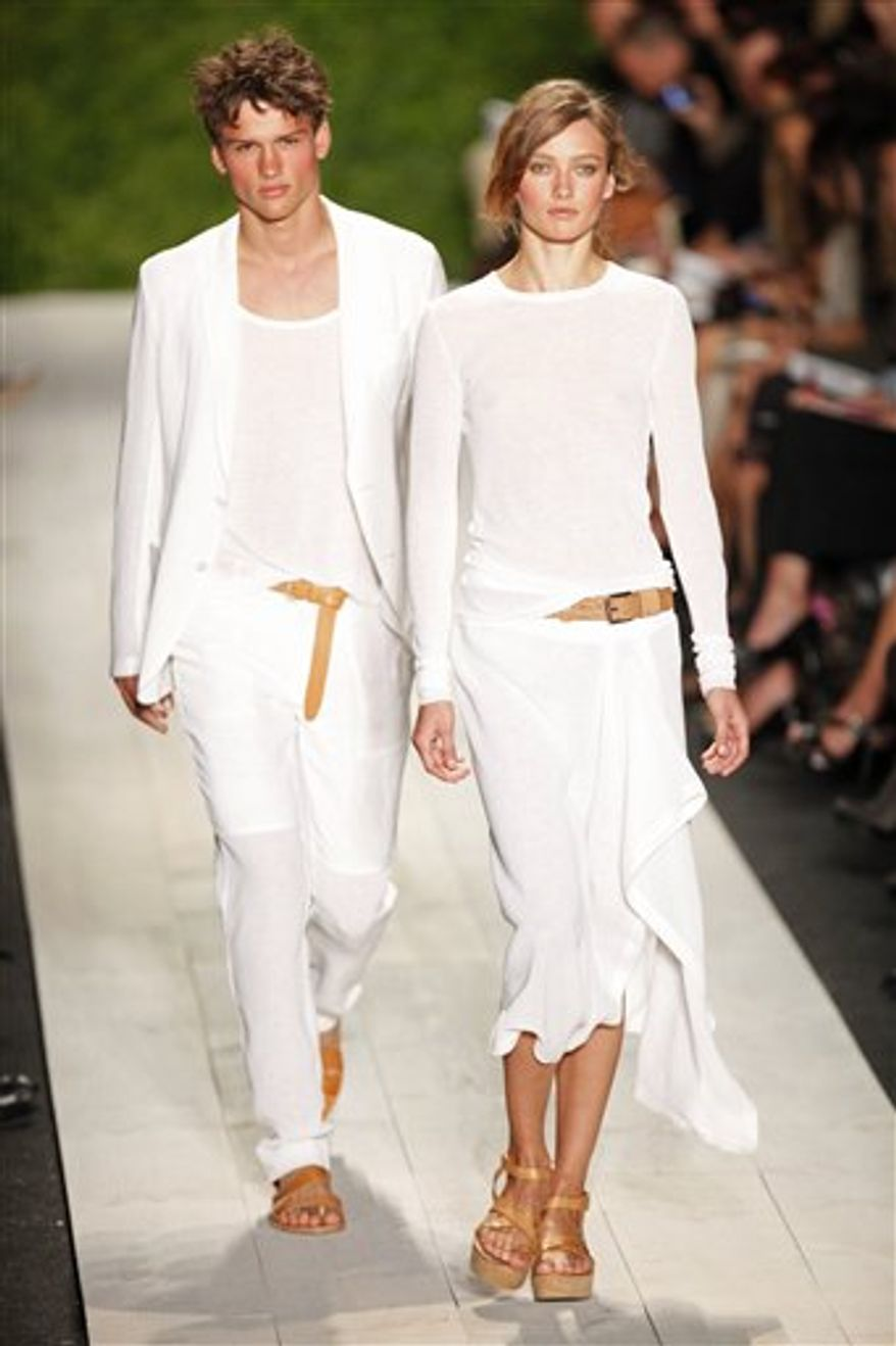 The Michael Kors Spring 2011 collection is modeled Wednesday, Sept. 15, 2010, during Fashion Week in New York. (AP Photo/Mark Lennihan)