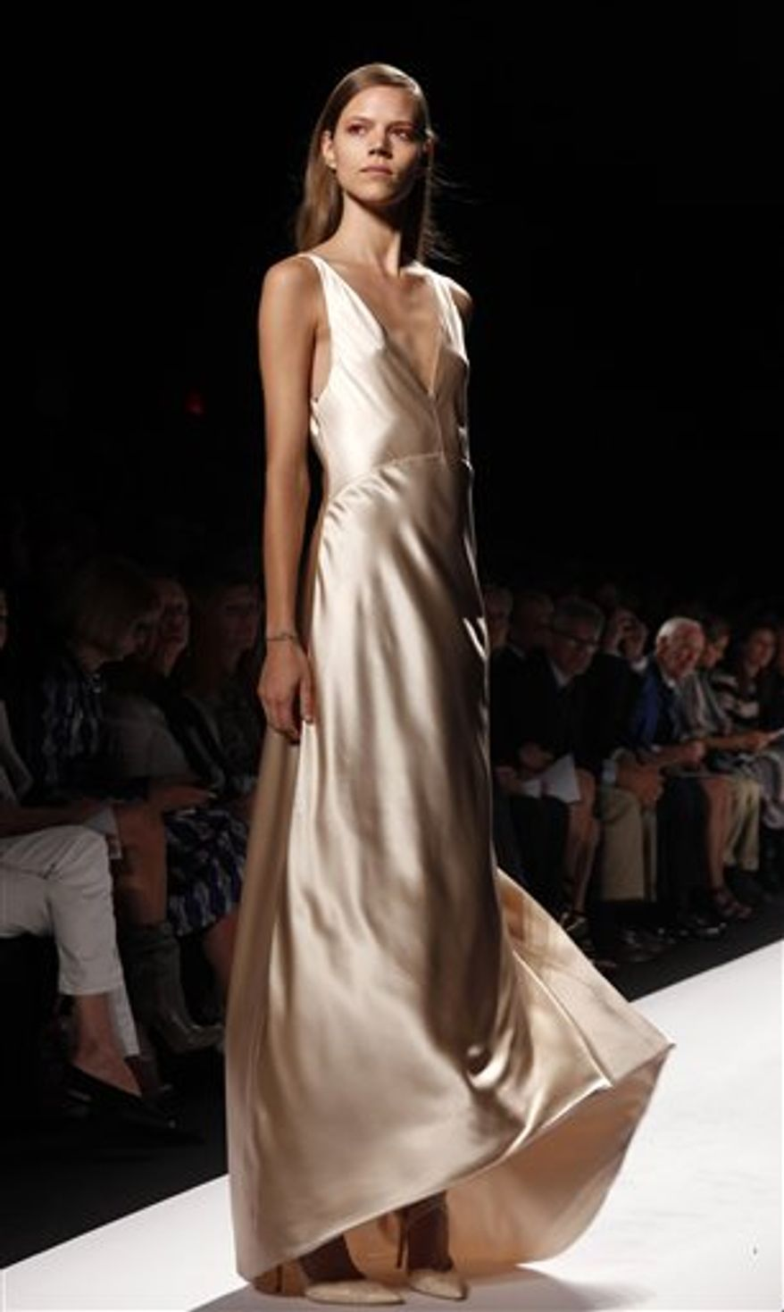 The Narciso Rodriguez spring 2011 collection is modeled during Fashion Week in New York, Tuesday, Sept. 14, 2010.  (AP Photo/Seth Wenig)