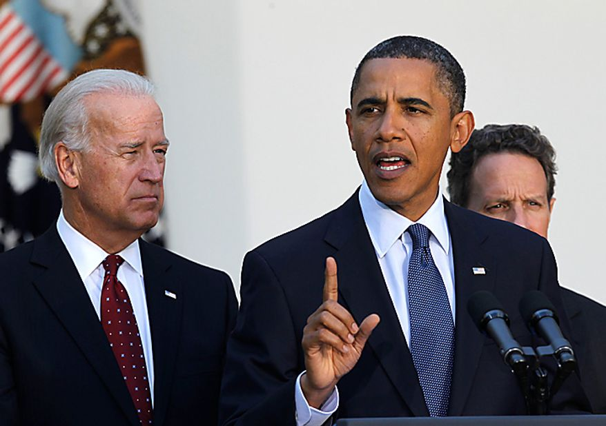 President Barack Obama, center, speaks as Vice President Joe Biden, left, and Treasury Secretary Timothy Geithner, right, listen during a new conference on the economy in the Rose Garden of the White House in Washington, Wednesday, Sept., 15, 2010. (AP Photo/Pablo Martinez Monsivais)