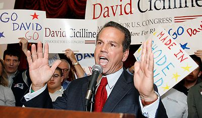 Providence, R.I., Mayor David Cicilline thanks supporters during a victory rally in Tuesday, Sept. 14, 2010 in Providence, R.I. Cicilline defeated businessman Anthony Gemma, state Rep. David Segal and former state party chairman Bill Lynch to capture the Democratic nomination for the 1st Congressional District post. (AP Photo/Stew Milne)