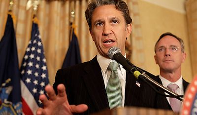 New York Republican gubernatorial candidate Rick Lazio speaks to supporters, Tuesday, Sept. 14, 2010, in New York. (AP Photo/Frank Franklin II)