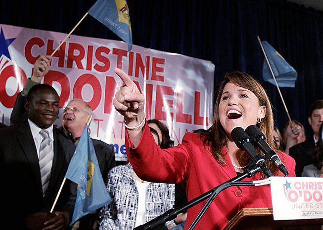 Republican Senate candidate Christine O'Donnell addresses supporters after winning the Republican nomination for Senate in Delaware, Tuesday, Sept. 14, 2010, in Dover, Del. O'Donnell upset Rep. Mike Castle.. (AP Photo/Rob Carr)