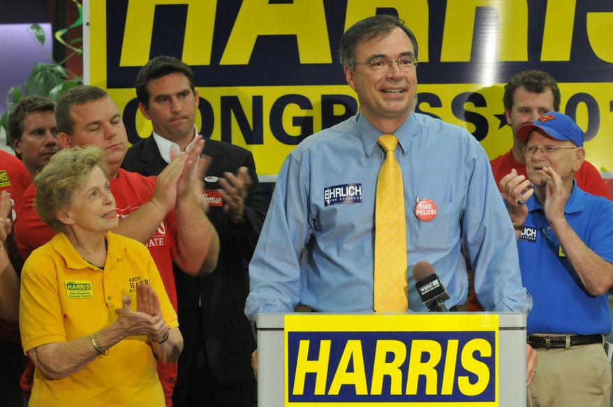 Associated Press photographs State Sen. Andy Harris, Republican candidate in the 1st Congressional District of Maryland, addresses supporters in Salisbury, Md., after winning his Tuesday primary. Mr. Harris is set to take on the Democrat who narrowly defeated him in 2008.
