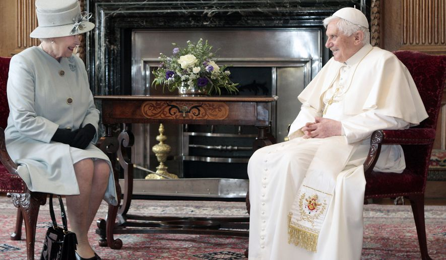 Britain's Queen Elizabeth II talks with Pope Benedict XVI during an audience in the Morning Drawing Room at the Palace of Holyroodhouse in Edinburgh Thursday Sept. 16, 2010. The Pope is on a four-day visit to Britian. (AP Photo David Cheskin/Pool)