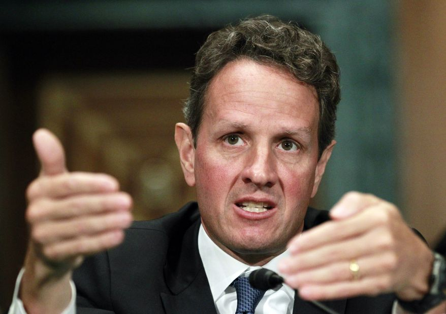 Treasury Secretary Timothy F. Geithner testifies on Capitol Hill in Washington on Thursday, Sept. 16, 2010, at a Senate Banking Committee hearing on the Treasury Department's report on international economic and exchange rate policies. (AP Photo/Manuel Balce Ceneta)