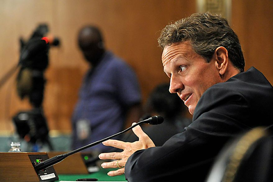 "Timothy Geithner, U.S. treasury secretary, testifies at a Senate Banking Committee hearing in Washington, D.C., U.S., on Thursday, Sept. 16, 2010. Geithner said China needs to allow a ""significant, sustained"" rise in its currency as lawmakers called for the U.S. to toughen its stance on the yuan. Photographer: Jay Mallin/Bloomberg"