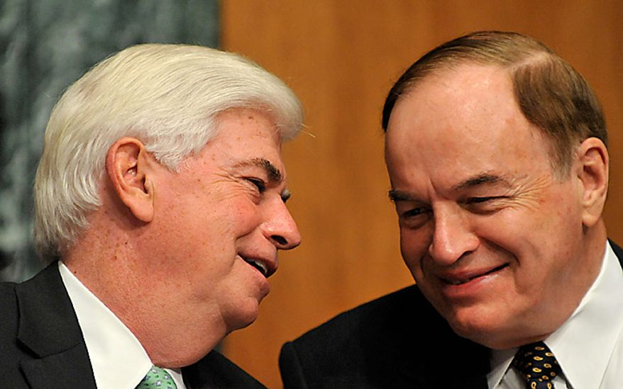 "Senator Christopher Dodd, left, a Democrat from Connecticut, talks with Senator Richard Shelby, a Republican from Alabama, during a Senate Banking Committee hearing with U.S. Treasury Secretary Timothy Geithner, Washington, D.C., U.S., on Thursday, Sept. 16, 2010. Geithner said China needs to allow a ""significant, sustained"" rise in its currency as lawmakers called for the U.S. to toughen its stance on the yuan. Photographer: Jay Mallin/Bloomberg"