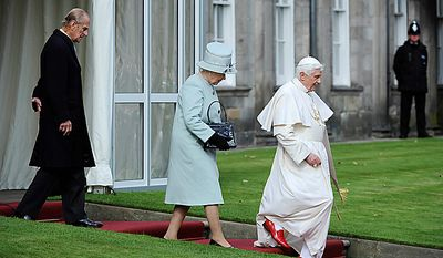 ** FILE ** From left, Britain's Prince Philip, Britain's Queen Elizabeth and Pope Benedict XVI walk at the Palace of Holyroodhouse, in Edinburgh, Scotland, Thursday Sept. 16, 2010. (AP Photo/Claudio Onorati, Pool)
