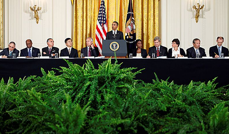 President Barack Obama announces his plans to work on free trade agreements and to step up trade promotion at a meeting of his export council, Thursday, Sept. 16, 2010, in the East Room of the White House in Washington. Less than two months before congressional elections, and with the economy a top issue for voters, Obama is turning his attention to trade, highlighting his goal of doubling U.S. exports over five years to drive economic growth. (AP Photo/J. Scott Applewhite)