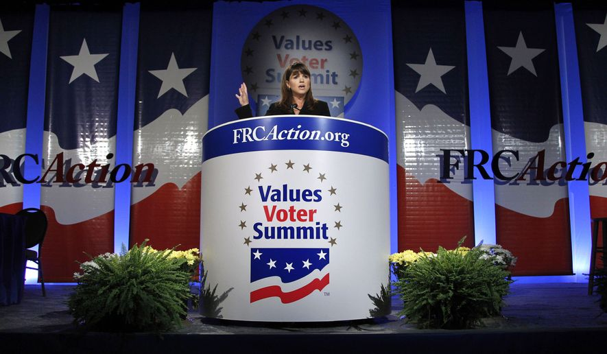 Delaware Republican Senate candidate Christine O'Donnell gestures while delivering remarks at Values Voter Summit in Washington, Friday, Sept. 17, 2010. (AP Photo/Manuel Balce Ceneta)