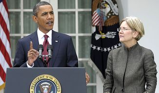 President Barack Obama, accompanied by Elizabeth Warren, announces that Warren will head the Consumer Financial Protection Bureau, Friday, Sept. 17, 2010, during an event in the Rose Garden of the White House in Washington. (AP Photo/Susan Walsh) **FILE**
