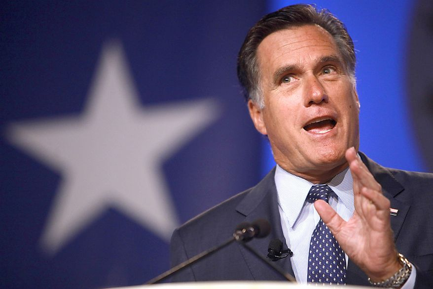 Former Massachusetts Gov. Mitt Romney speaks at the Values Voter Summit on Friday, Sept. 17, 2010, in Washington. (AP Photo/Jacquelyn Martin)
