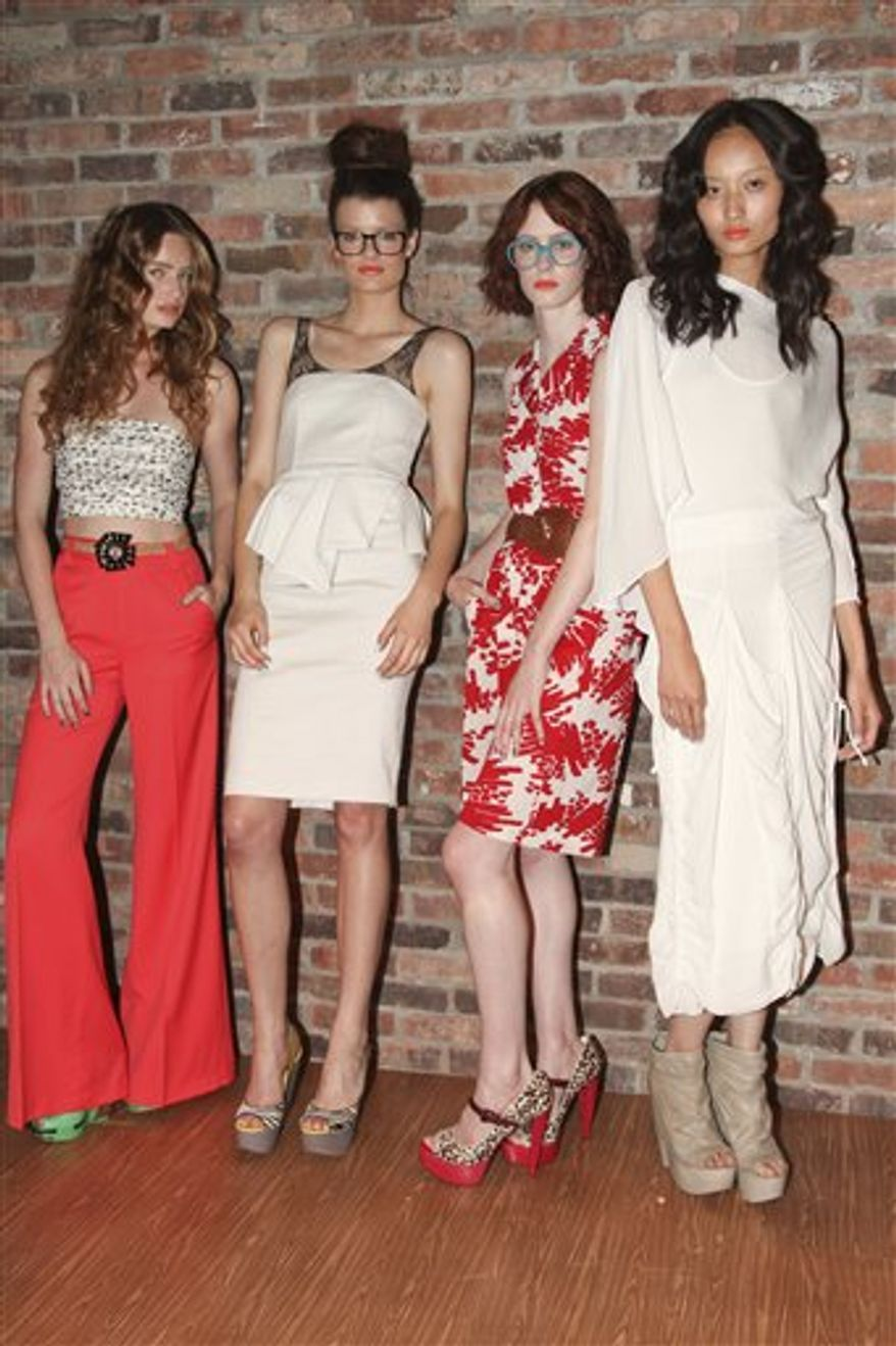 This Sept. 14, 2010 photo released by David X Prutting / BFA for Alice + Olivia shows the Alice + Olivia spring 2011 collection modeled during Fashion Week in New York.  (AP Photo/Alice + Olivia, David X Prutting / BFA)  NO SALES; EDITORIAL USE ONLY