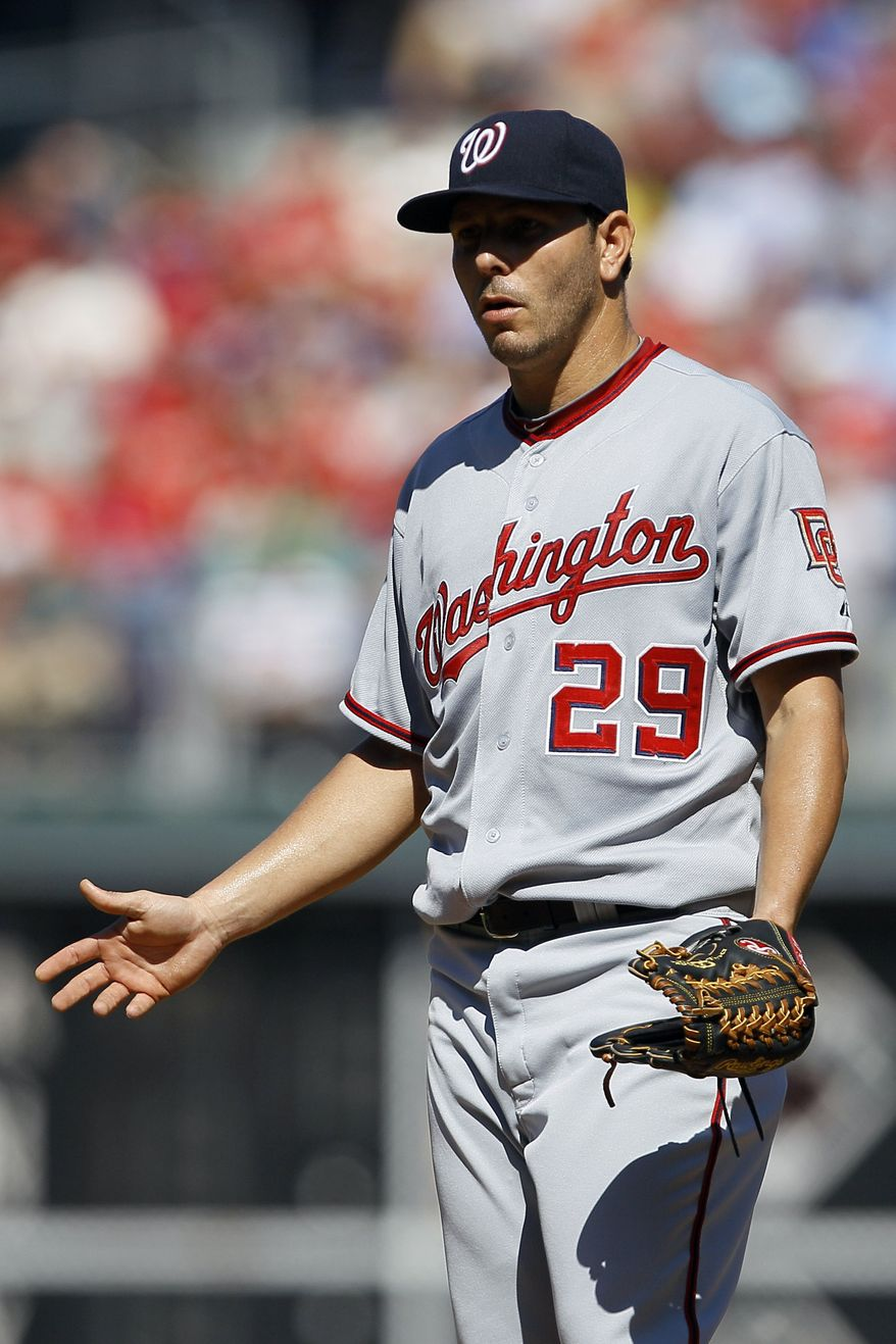 ASSOCIATED PRESS Washington Nationals pitcher Yunesky Maya reacts after being called for a balk in the second inning of a baseball game against the Philadelphia Phillies, Sunday, Sept. 19, 2010, in Philadelphia. Philadelphia's Raul Ibanez advanced to second base on the call.