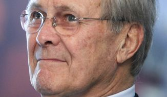 ** FILE ** In a Tuesday, May 19, 2009, photo, former Defense Secretary Donald H. Rumsfeld attends a corridor dedication ceremony at the Pentagon. (AP Photo/Haraz N. Ghanbari, File)