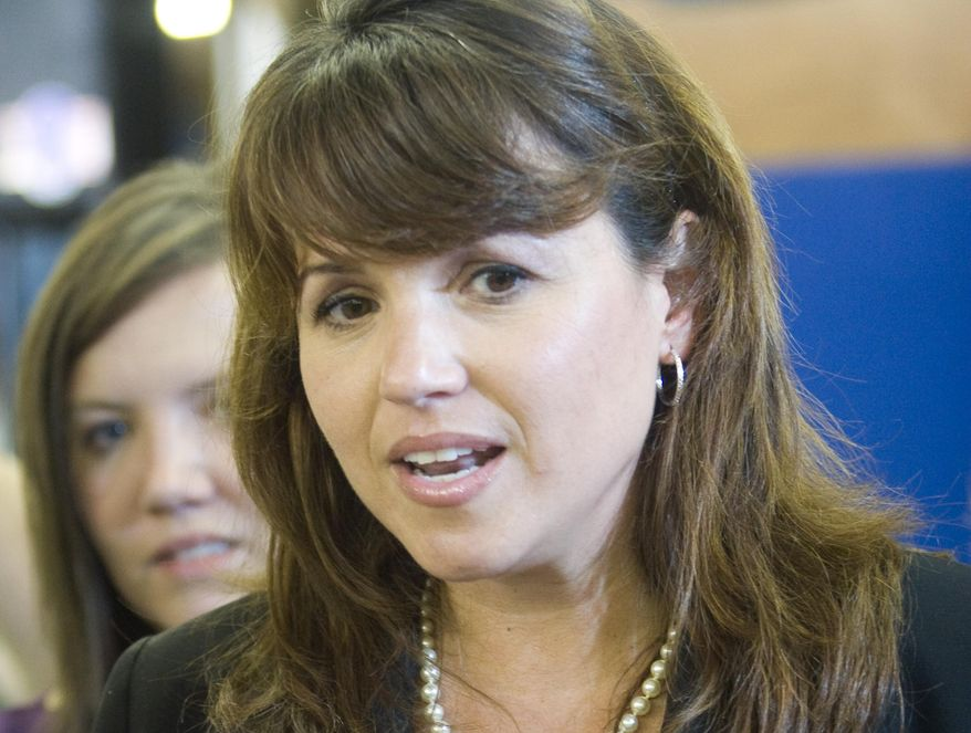 Delaware Republican Senate candidate Christine O'Donnell speaks at a Sussex County Republican Committee picnic on Sunday, Sept. 19, 2010, in Lincoln, Del. (AP Photo)