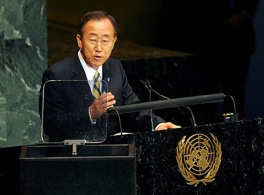 United Nations Secretary-General Ban Ki-moon addresses a summit on the Millennium Development Goals at United Nations headquarters on Monday, Sept. 20, 2010. (AP Photo/Henny Ray Abrams)