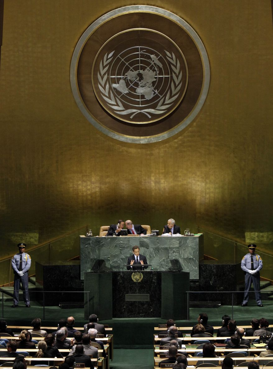 French President Nicolas Sarkozy addresses a summit on the Millennium Development Goals at United Nations headquarters in New York on Monday, Sept. 20, 2010. (AP Photo/Richard Drew)