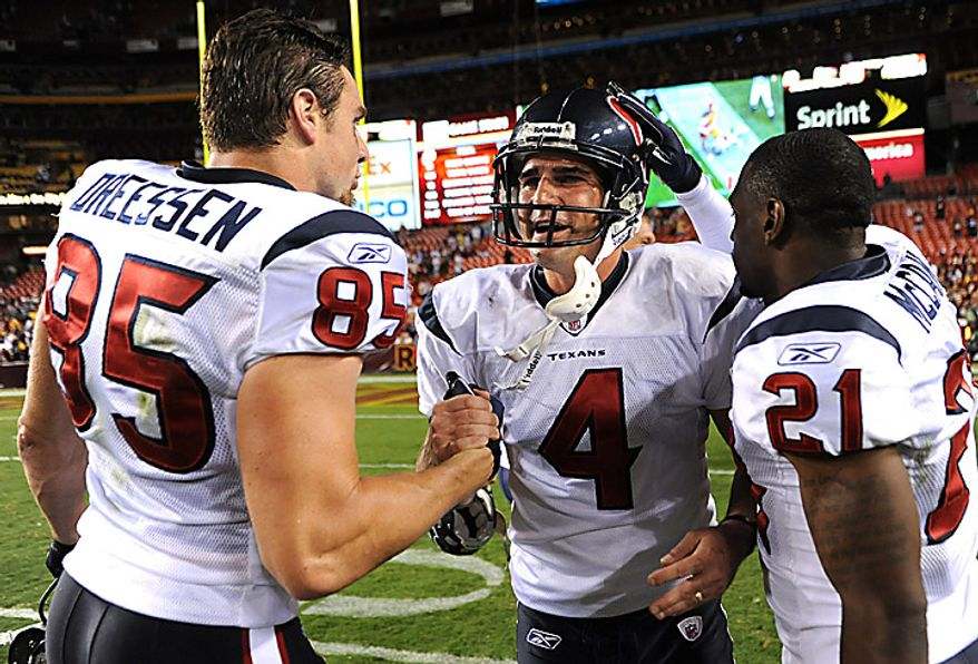 Houston Texans' kickers Neil Rackers (C) celebrates with teammates after kicking a 35-yard field goal in overtime to defeat the Washington Redskins 30-27 at FedEx Field in Washington on September 19, 2010.   UPI/Kevin Dietsch