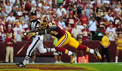 Washington Redskins wide receiver Joey Galloway just missed a touchdown pass during the third quarter against the Houston Texans at FedEx Field in Washington on September 19, 2010.   UPI/Kevin Dietsch