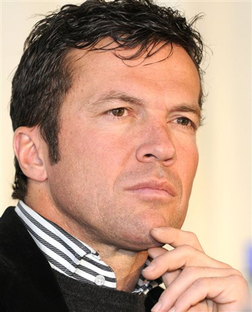 """FILE - In this March 10, 2008 file picture, former German soccer player Lothar Matthaeus ponders a question during a press conference in Munich, southern Germany. Former Germany great Lothar Matthaeus agreed to become Bulgaria coach, the Bulgarian football federation announced on Tuesday Sept. 21, 2010.  """"Matthaeus will be officially presented in a few days and will lead the team in its next European Championship qualifier against Wales,"""" football federation head Borislav Mihailov said. He added that Matthaeus had agreed on a one-year contract with an option for two more years.  (AP Photo/Uwe Lein,File)"""