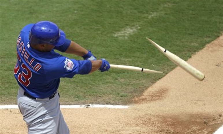 Chicago Cubs' Welington Castillo breaks his bat on a double against the Florida Marlins in the second inning of a baseball game in Miami, Sunday, Sept. 19, 2010. Cubs' Tyler Colvin scored on the double. (AP Photo/Alan Diaz)