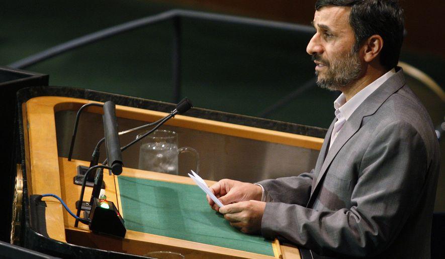 Iranian President Mahmoud Ahmadinejad speaks at a summit on the Millennium Development Goals at United Nations headquarters on Tuesday, Sept. 21, 2010. (AP Photo/Aaron Jackson)