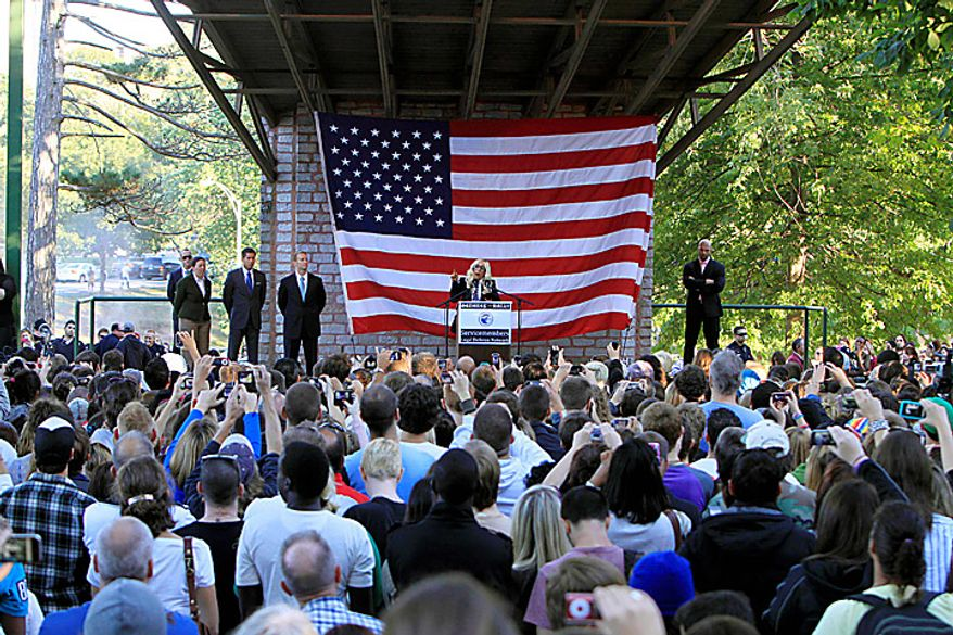 """Recording artist Lady Gaga speaks at a rally in support of repealing the military's """"don't ask, don't tell"""" policy on gay service members, in Portland, Maine, on Monday, Sept. 20, 2010. (AP Photo/Pat Wellenbach)"""