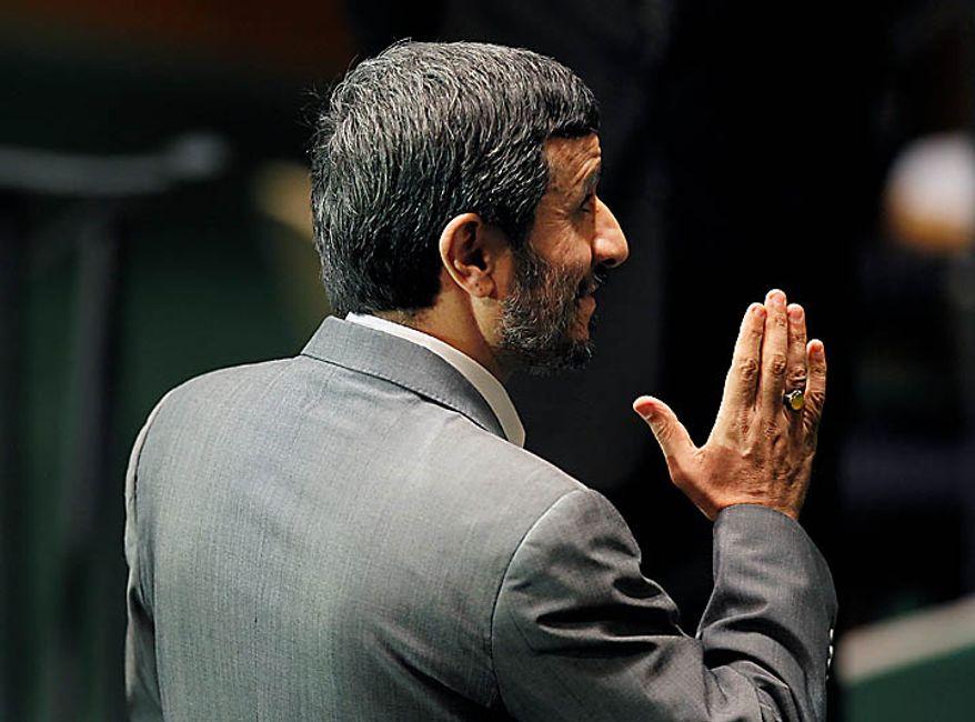 Iranian President Mahmoud Ahmadinejad speaks at United Nations headquarters, Tuesday, Sept. 21, 2010.  (AP Photo/Seth Wenig)